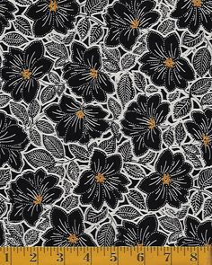 Quilt Fabric Closeouts - Quilting Treasures Maya - Packed Floral - Black & Gold SKU# 24017-JS