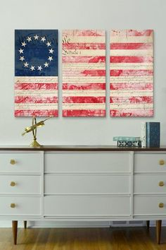 Betsy Ross American Flag & Constitution 3-Panel Canvas Print