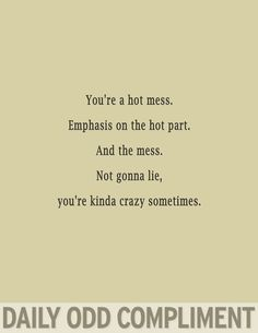 Daily odd compliment: Hot mess.