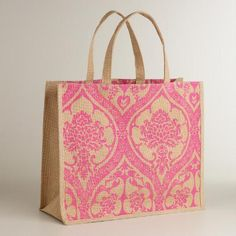 Stylish, durable and eco-conscious, our exclusive Pink Print Jute Bag is the ideal everyday accessory. With convenient handles, this stylish bag is a perfect carryall for the grocery store, beach or library.