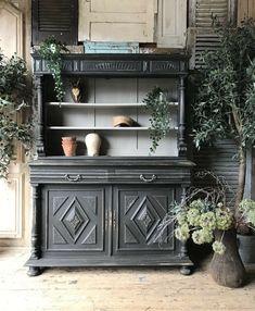 Dresser Bar, Dresser Shelves, Kitchen Dresser, Pine Dresser, Dresser Ideas, Shabby Chic Welsh Dresser, French Dresser, Vintage Dressers, Staging Furniture