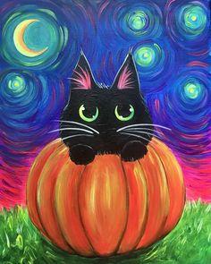 Halloween Canvas Paintings, Fall Canvas Painting, Black Cat Painting, Simple Canvas Paintings, Halloween Painting, Autumn Painting, Light Painting, Halloween Art, Canvas Art