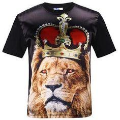 eaf280d9 Mens Womens Casual Tee Shirts 3D Print Lion Graphic designer t-shirt ...
