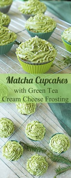 Matcha cupcakes with green tea cream cheese frosting recipe are perfect for Christmas or any party. Matcha cupcakes are fluffy, sweet and delicious! Brownie Desserts, Mini Desserts, Just Desserts, Delicious Desserts, Dessert Recipes, Yummy Food, Delicious Cupcakes, Healthy Cupcake Recipes, Coconut Dessert