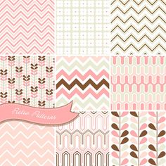 Chevron digital papers pink Retro Patterns Pack by GraphicMarket
