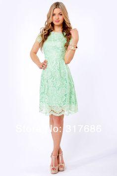 109 Free Shipping Knee length Bateau Short sleeve Keyhole Back mint green French rosette lace dress (2).jpg