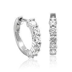 Amazon.com: 14k White Gold 6 Stone Hoop Diamond Earrings (GH, I1-I2, 0.74 carat): Diamond Delight: Jewelry