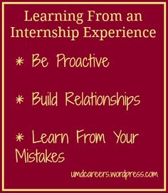 Learning from an Internship Experience