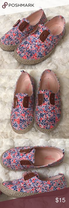 OshKosh Floral Espadrilles Worn maybe 5 times. They need a cute yarn lace. I bought some at the craft store. The original ones they came with were horrible. Cute slip ons! Osh Kosh Shoes