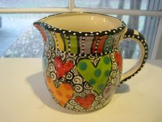 Hand Painted Pottery, Painted Mugs, Pottery Painting, Hand Painted Ceramics, Ceramic Painting, Pottery Vase, Ceramic Pottery, Ceramic Cafe, Ceramic Pitcher