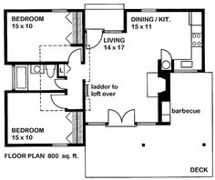 Cute tiny house plan with two bedrooms, a wrap around porch, and a little loft.