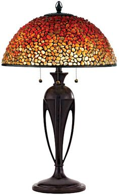 Pomez Tiffany Table Lamp with Agate Stone Shade is just stunning...