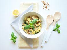 Tortellini with lemon, basil and pine seeds