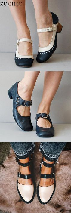 Women's Vintage Color Block Shoes Buckle With Ladies Loafers Low Heel Shoes, Loafer Shoes, Oxfords, Women's Shoes, Supergirl, Chunky Heels Closed Toe, Comfortable Mens Shoes, Color Block Shoes, Shoe Gallery