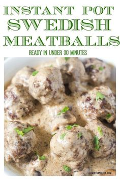 Instant Pot Swedish Meatballs Are An Under Meal Serve As An Appetizer Or As A Main Dish With Egg Noodles, Mashed Potatoes, Or Your Favorite Side Foodsaver Via Everydayeileen Meatball Recipes, Meat Recipes, Crockpot Recipes, Meatball Appetizers, Cooking Recipes, Healthy Cooking, Easy Dinner Recipes, Easy Meals, Gourmet