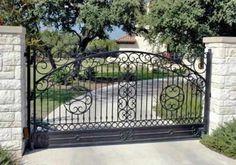 Driveway Gate Caracoles-80 - Wrought Iron Doors, Windows, Gates, & Railings from Cantera Doors