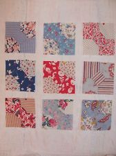 "Antique Vintage Lot of 9 BOW-TIE QUILT BLOCKS 6""square Feedsack + Dress H-Pc'd"
