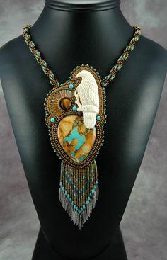 Nevada Boulder Turquoise with Bone Eagle by sedonaskye on Etsy, $225.00