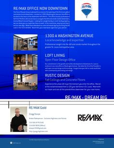 Re/Max GOLD * www.Highrises.com * NEW OFFICE LOCATED ON WASHINGTON AVENUE.....1300 A.....Loft Information Hotline...314-276-4663....Call Suzanne Hunn or Gregg Sharpe For Up To The Minute Loft Information....!!! Doors Are **OPEN**....!!!