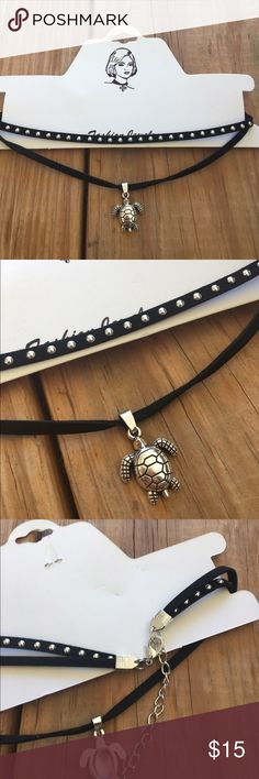 ONLY 1 LEFT! Double Strand Faux Suede Choker Super cute turtle pendant on a faux suede double strand choker  The Trendy Kitten Jewelry