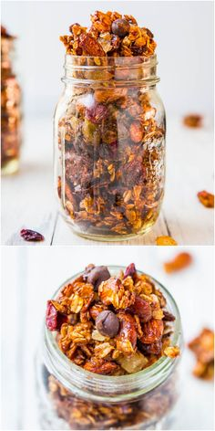 Big Clusters Maple Cinnamon Chocolate Chip Granola (vegan, GF) - Easy homemade granola for a fraction of the cost of storebought! Learn the secrets to creating those highly coveted big clusters! (Vegan Chex Mix)