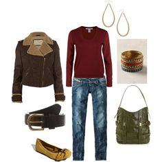 love the casual outfit.  Cool green purse. not the shoes and the shirt could be white.