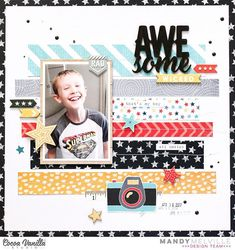 Check out the latest inspiration from designer Mandy! She has used our new 'You Rock' collection and a cool strip design to create this fabulous layout of her son. Love how she has showcased the patterned papers and complimented it with stitching over the top! @mandy1980 #cocoavanillastudio #cocoa_vanilla #scrapbook #layout #yourock #newcollection #masculine #patternedpaper #embellishments #chipboard #papercraft #memorykeeping #paperpretties