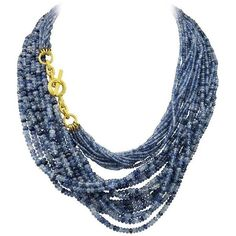 Amazing Virginia Witbeck Natural Sapphire Gold Multistrand Necklace (191 240 ZAR) ❤ liked on Polyvore featuring jewelry, necklaces, blue, blue gold necklace, blue sapphire necklace, multi strand gold necklace, multi strand necklace and multi-chain necklace
