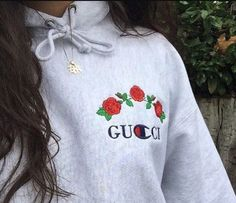 sweater tumblr grey grey sweater hoodie embroidered rose gucci champion trendy