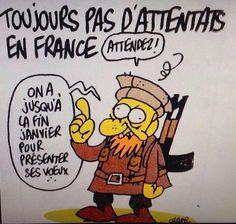 C'est un dessin tristement prémonitoire qu'a signé Charb, directeur de la publication de Charlie Hebdo, dans le numéro paru mercredi 7 janvier.