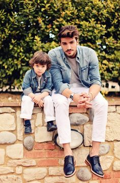 Dad and son in matching outfits