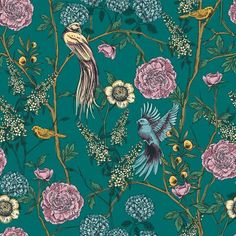 Wallpaper Panels, Home Wallpaper, Colorful Wallpaper, Wallpaper Roll, Peel And Stick Wallpaper, Wallpaper Murals, Teal Wallpaper With Birds, Vintage Bird Wallpaper, Wallpaper Online
