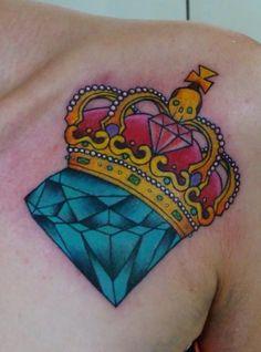 Tattoo Krone mit blauen Edelstein                                                                                                                                                                                 Mehr