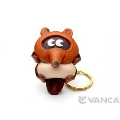 GENUINE 3D LEATHER RACCOON DOG KEYCHAIN MADE BY SKILLFUL CRAFTSMEN OF VANCA CRAFT IN JAPAN. #handmade #keyfob #gift #unique #art #design #cute #animal