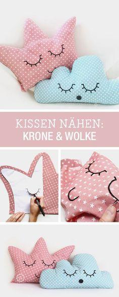 DIY-Anleitung: Kissen als Krone und Wolke für kleine Prinzessinnen nähen, Kinderzimmerdeko / DIY tutorial: sewing pillow as crown and cloud for little princesses, children's room decor via http://DaWanda.com