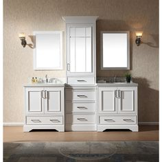 Ariel Stafford White Wood 85-inch Double Sink Vanity Set with Center Medicine Cabinet (White), Size Double Vanities