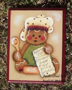 Handpainted Gingerbread Plaque by stephskeepsakes Gingerbread Christmas Decor, Gingerbread Crafts, Gingerbread Decorations, Gingerbread Man, Christmas Candy, Christmas Time, Christmas Crafts, Christmas Decorations, Christmas Ornaments