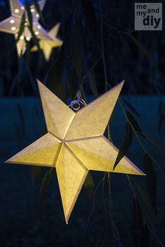DIY Paper Star Lanterns and Free Cutting Files at Me and My DIY