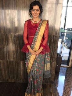 Actress Taapsee Pannu was seen wearing khadi sari handwoven with handspun yarn and real zari from Designer Sailesh Singania and neck piece from MiRA by Radhika Jain for Rashtrapati Bhavan in Delhi. Sari Blouse Designs, Saree Blouse Patterns, Saree Draping Styles, Saree Styles, Stylish Sarees, Saree Look, Long Blouse, Sheer Blouse, Indian Designer Wear