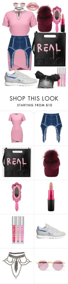 """""""pink is real"""" by annabidel ❤ liked on Polyvore featuring Elizabeth and James, Gucci, Moschino, MAC Cosmetics, Beauty Rush, Reebok, Sheriff&Cherry and Lime Crime"""