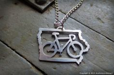 Bicycle Iowa. Perfect for RAGBRAI!!! Original design hand sawn from sterling silver or brass Pendant measures about 1 1/4'' across x 3/4'' tall Chain included