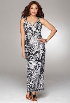 Avenue Plus Size Print Ring Maxi Dress