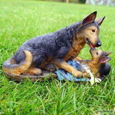 Cool Sch ferhund mit Welpe Gartenfigur Garten Tierfigur Dekoration Polyresin