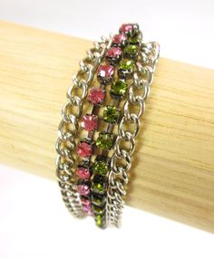 http://stores.ebay.com/theanothercorner/  Houdenie by Firenza Jewelry, Interchangable Bracelet, Pink, Green, Sliver, PROM! #Houdenie #Chain