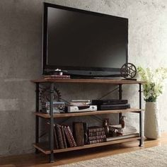 Image result for pipe and wood tv stand
