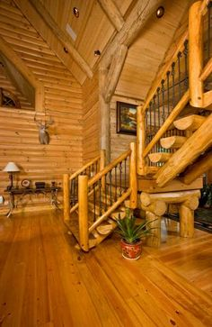 Strongwood Log Homes...needs darker floors to balance all the wood tones!