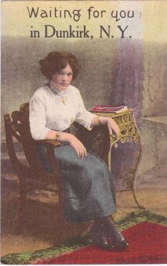 Pretty Young Lady Waiting For You In Dunkirk NY Postcard 1913 postmark