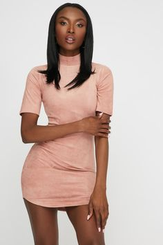 Cause you slay. With a faux-suede fabrication, mock neckline and short sleeves, this mini will have heads turning. Festival Fashion, Festival Style, Urban Planet, Urban Dresses, Workout Shorts, Mock Neck, Short Sleeves, High Neck Dress, Two Piece Skirt Set