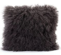 Lamb Fur Pillow Grey Wool Front Polyester Back Fur Pillow, Fur Throw Pillows, Fluffy Pillows, Wool Pillows, Decorative Throw Pillows, Designer Shades, Moe's Home Collection, Grey Pillows, Modern Pillows