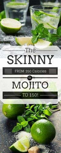 Skinny Mojito! Lets go from 350 Calories down to 150 calories with this clever recipe!! PIN NOW for LATER! #mojito #cocktail
